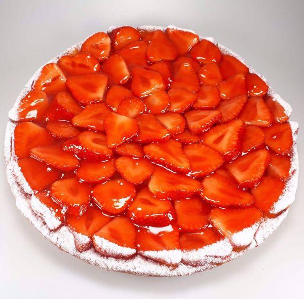 Afbeelding van Aardbei op cakebodem